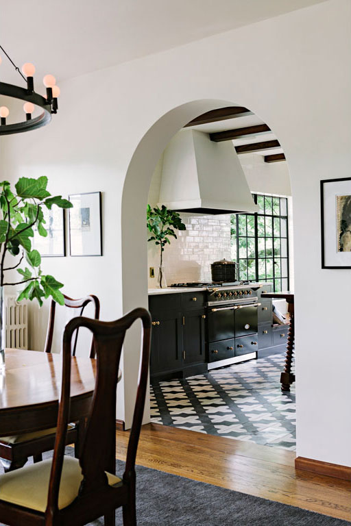 arched transition to kitchen