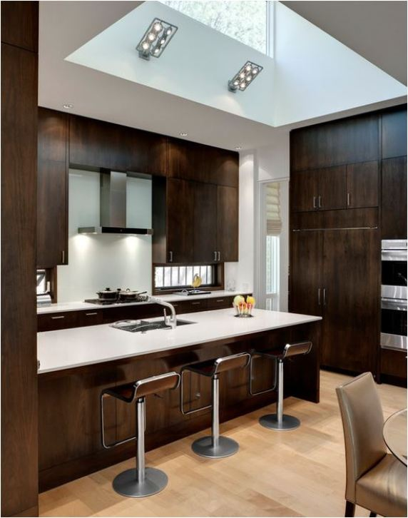 dark contemporary wood kitchen cabinets