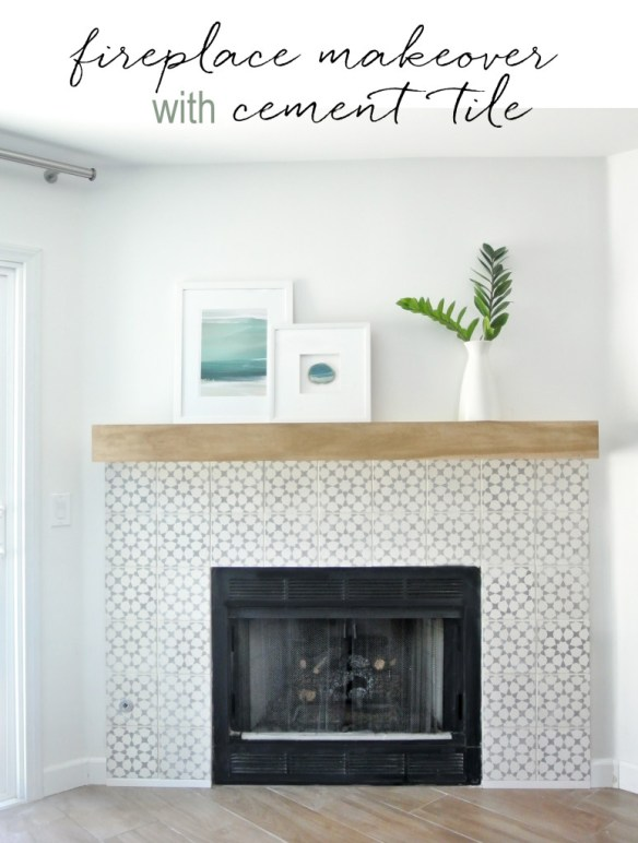 fireplace makeover with cement tile
