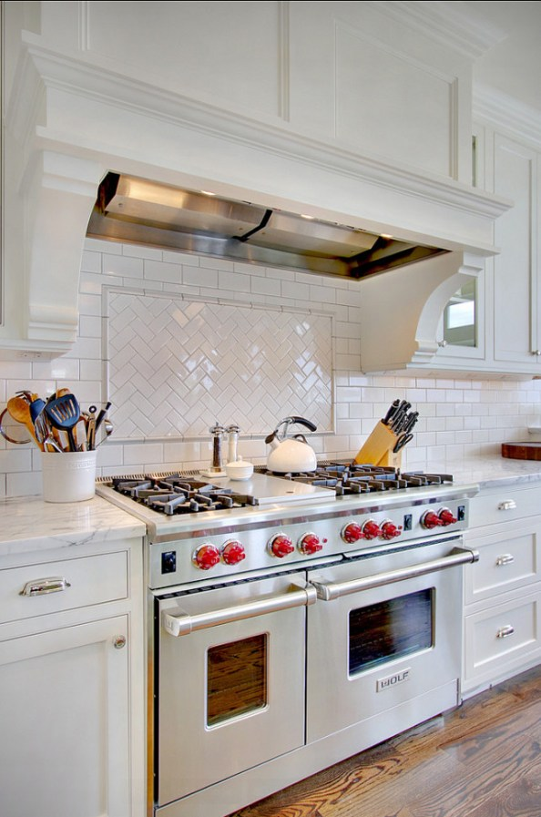 herringbone and classic subway tile