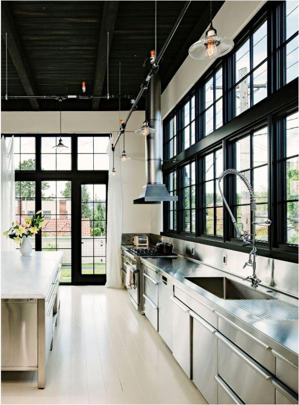 black kitchen windows