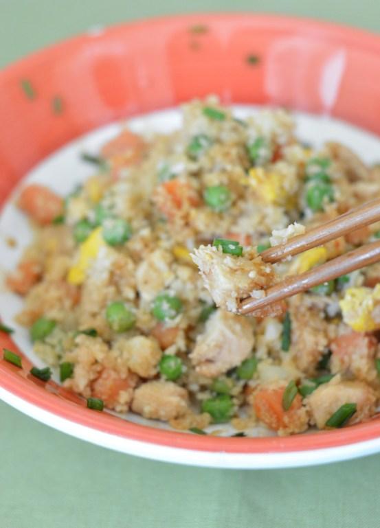 cauliflower fried rice with chopsticks