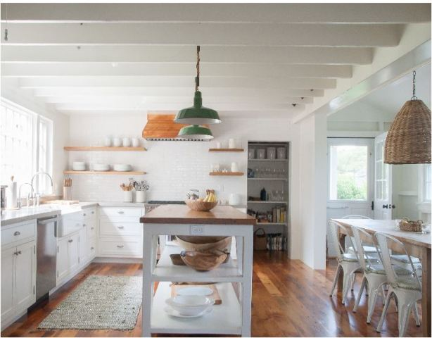 cottage white kitchen and dining room
