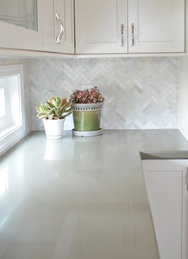 herringbone backsplash sage countertops