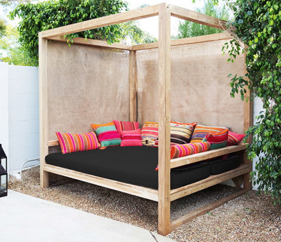 outdoor bed bright pillows