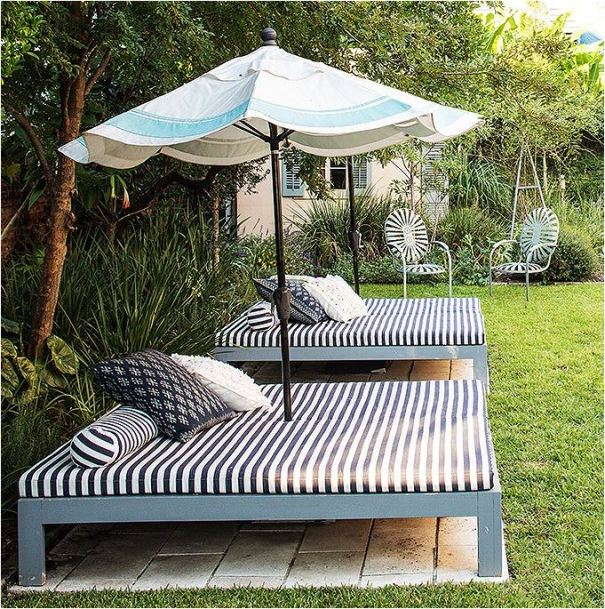 outdoor bed striped cushion