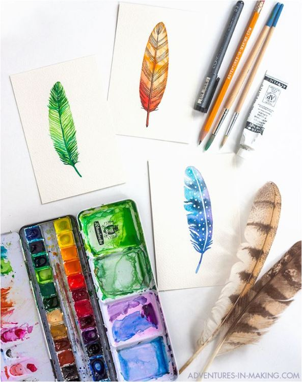 paint watercolor feathers