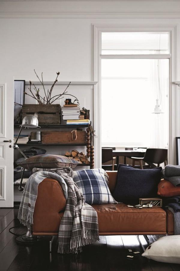 leather sofa plaid pillows