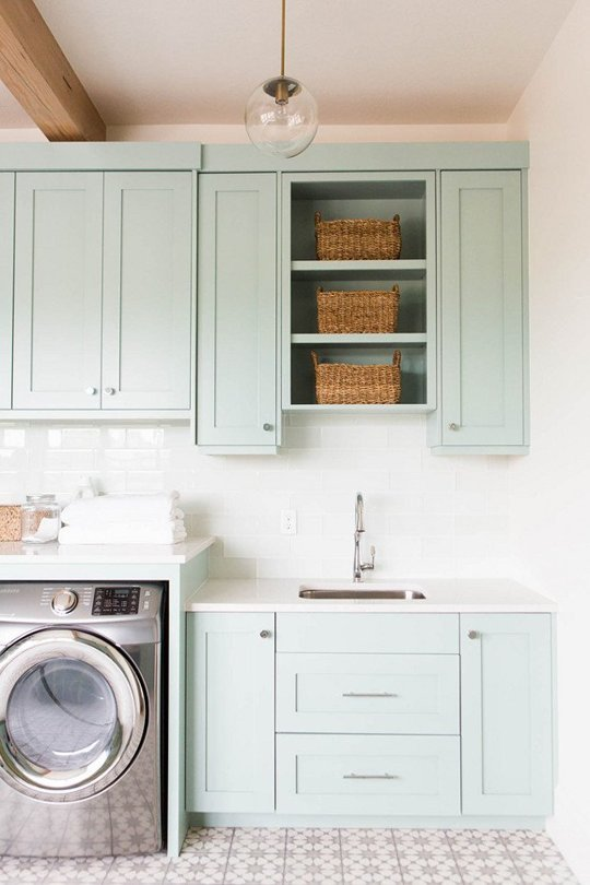 tile floors mint cabinets in laundry room