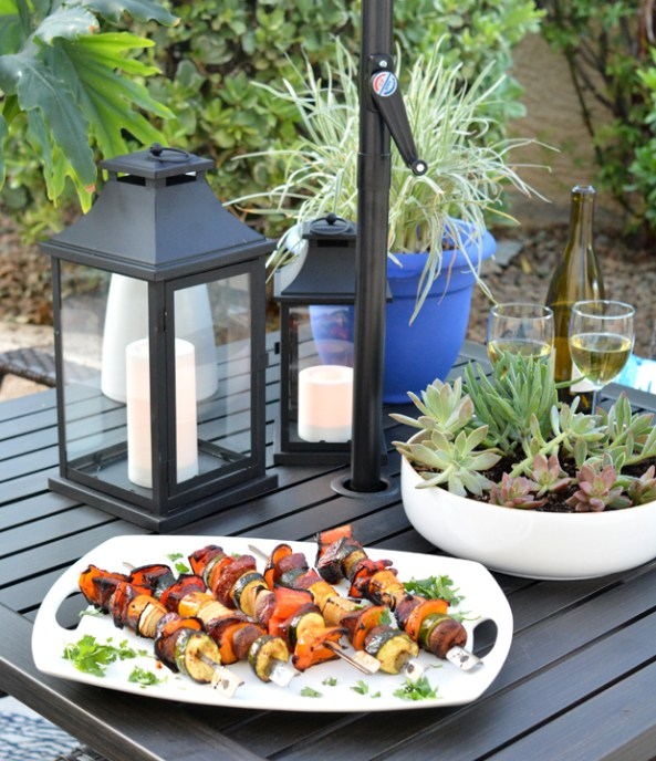 asian kabobs on table