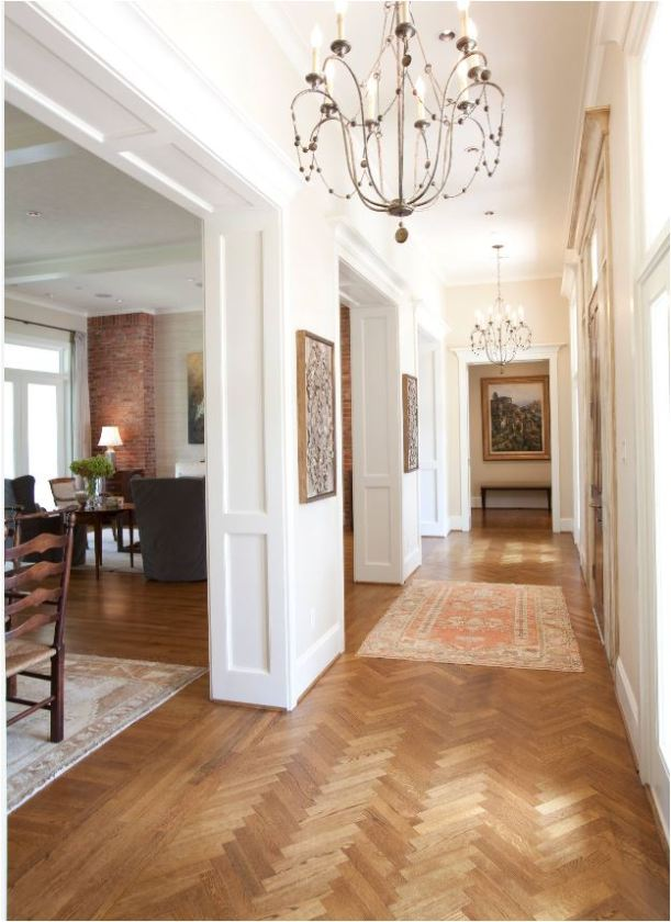 herringbone wood floor hallway