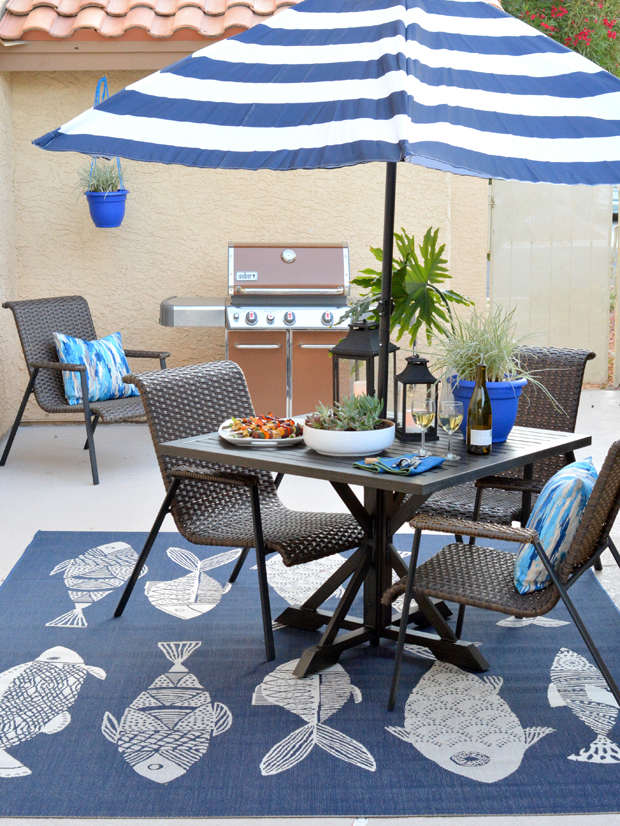 Ideal patio blue accents