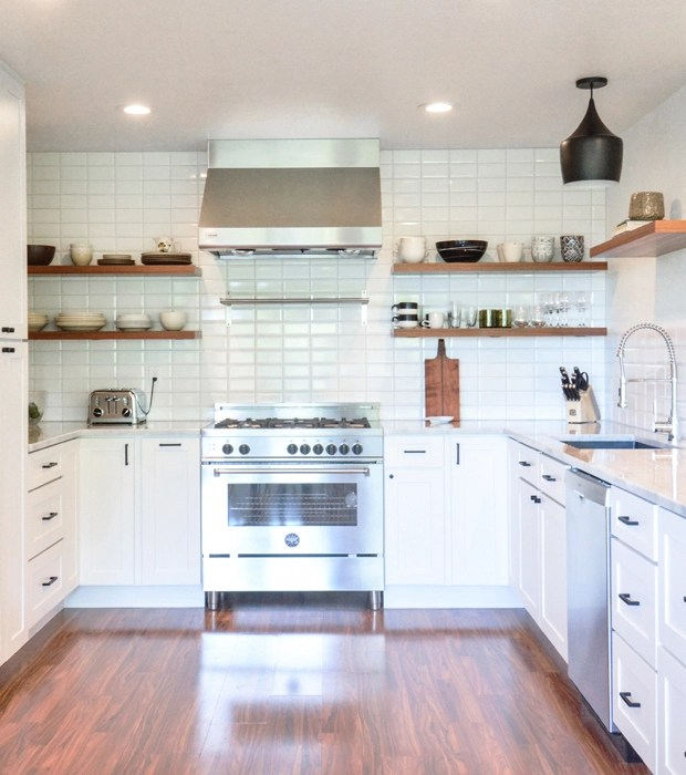 white kitchen wood floors