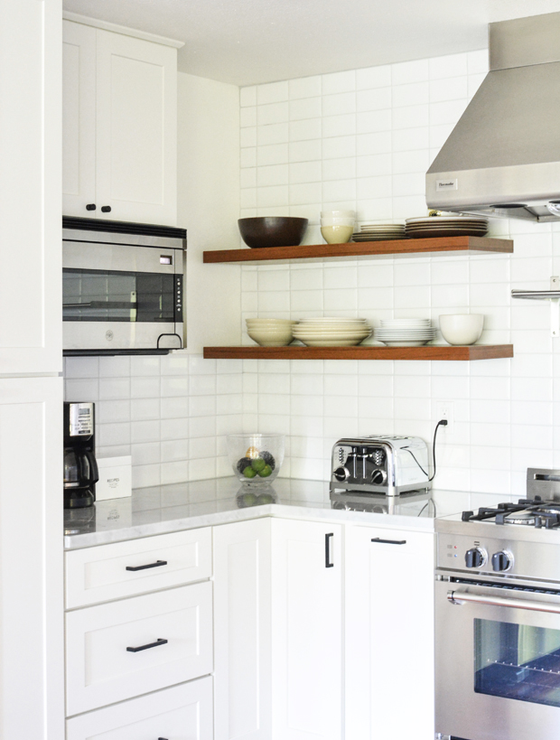 white tile wood floating shelves