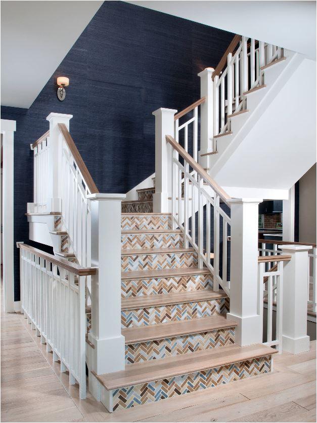 herringbone tiled staircase