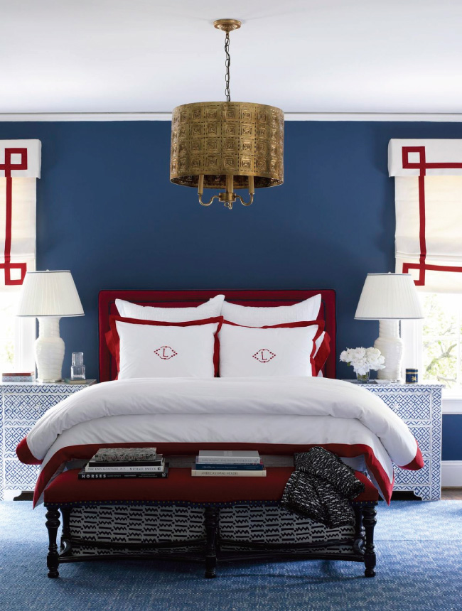 red white blue bedroom