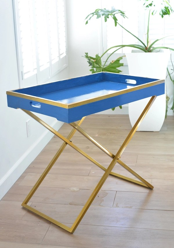 blue and brass tray