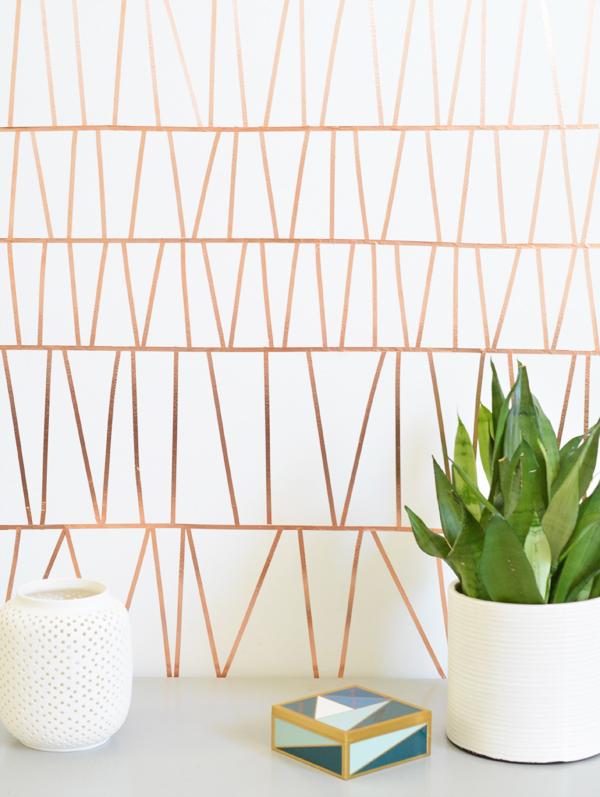 copper tape geometric wall treatment