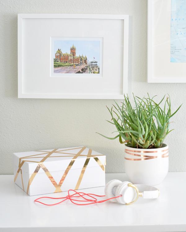 copper tape planter and box