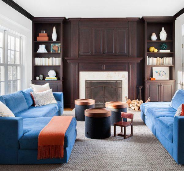 dark cabinet blue sofas