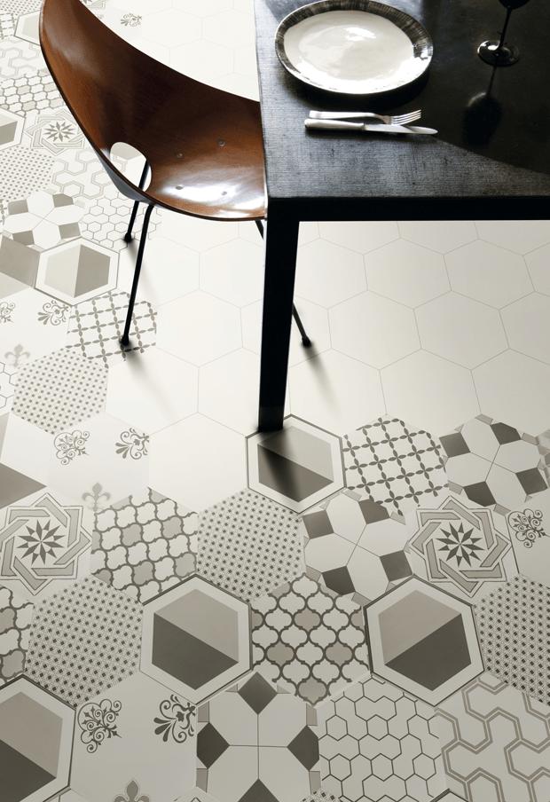 random pattern tile hexagon