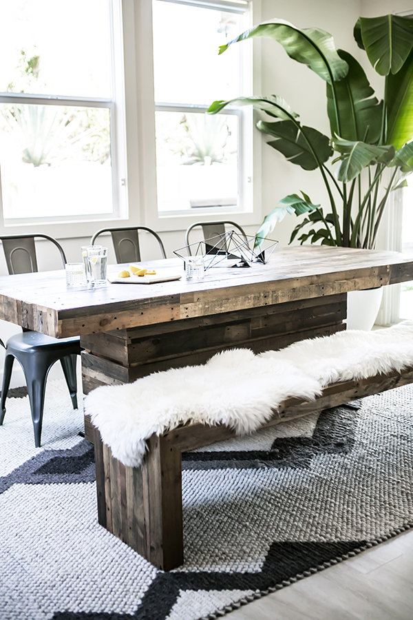 rustic bench and table