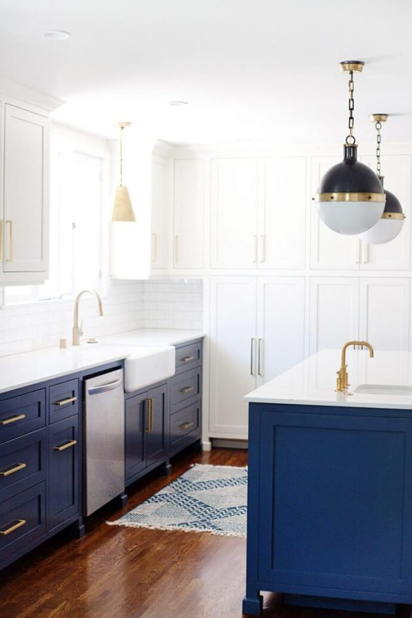 Hooray for the white and blue kitchen centsational style for Navy blue and white kitchen cabinets