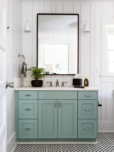 Painting Melamine Bathroom Cabinets painted bathroom cabinets | centsational style