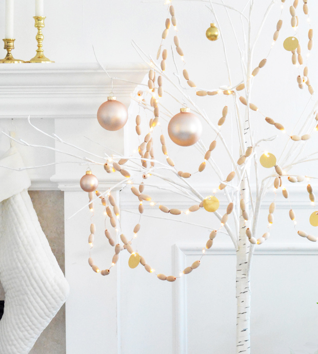 DIY Lighted Wood Bead Garland   Centsational Style