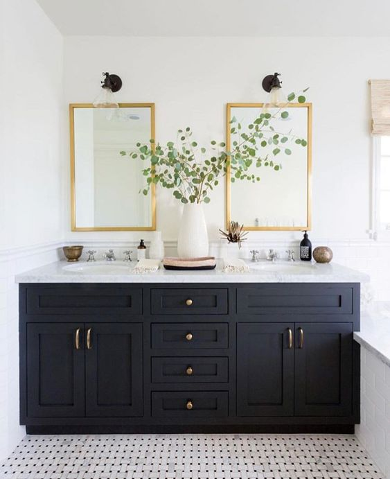 ... Brass Mirrors, But The Top Bathroom Has Brass Hardware And Black Finish  Sconces, Whereas The Bottom Bathroom Showcases Black Hardware And Brass  Sconces.
