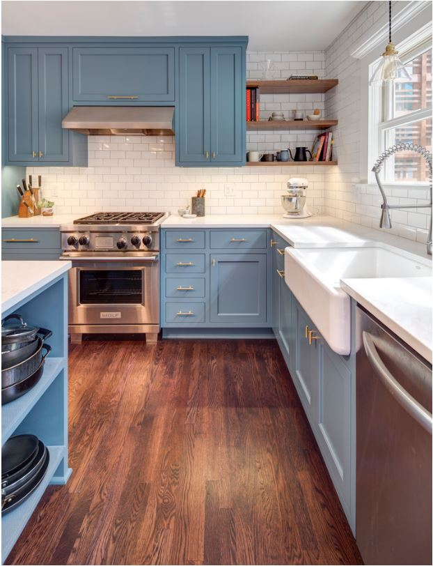 If you donu0027t want to commit to all blue cabinets consider a shade of blue on just the island or the lower cabinets. I love the Providence Blue by Benjamin ... & Forever Classic: Blue Kitchen Cabinets | Centsational Style