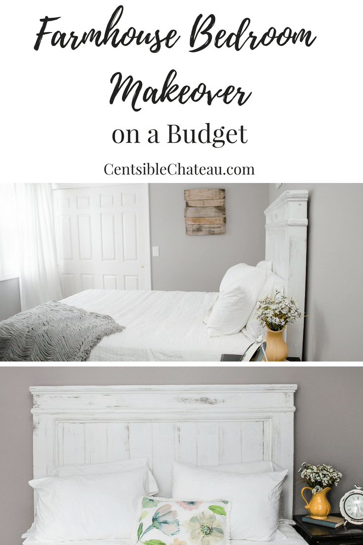 We wanted to turn an unused bedroom into a guest room, but didn't want to spend a lot of money. We built a DIY Farmhouse Headboard, painted furniture we already had, and found linens and accessories at discount stores. See how we created this gorgeous farmhouse bedroom on a budget. #farmhousebedroom #farmhouse #headboard