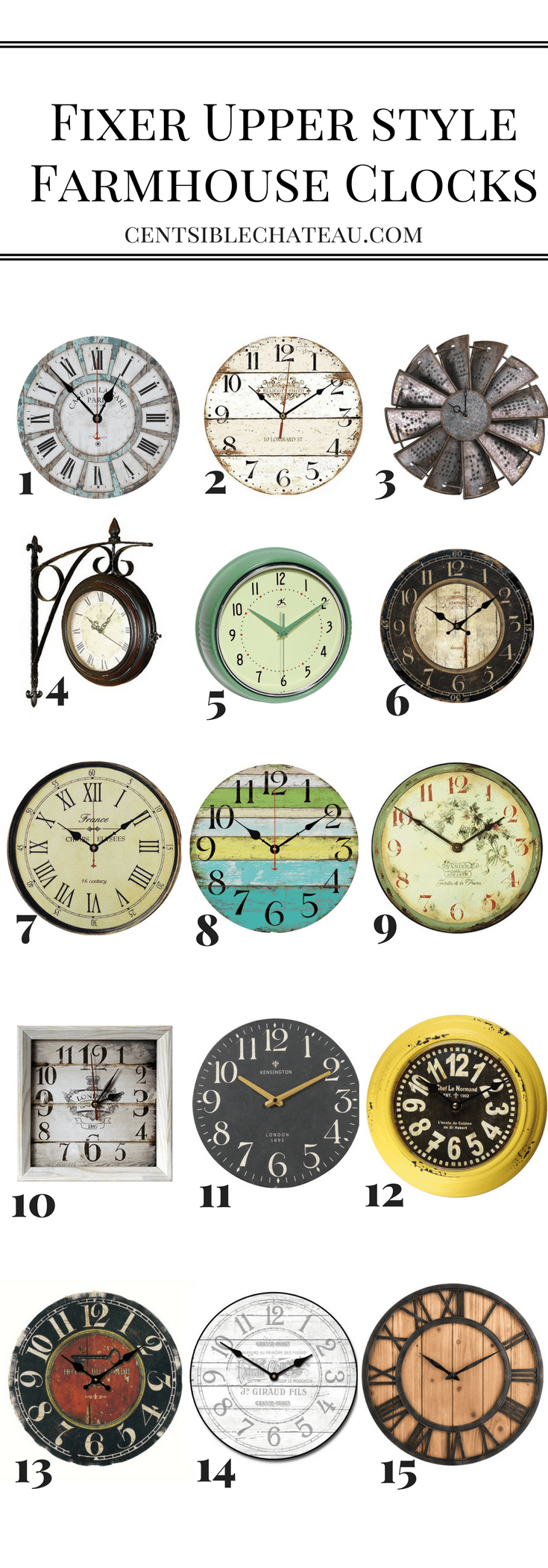 You can't have Fixer Upper Style without Farmhouse Clocks! Here are some adorable ones starting at $15.00 CentsibleChateau.com #clock #farmhouseclock
