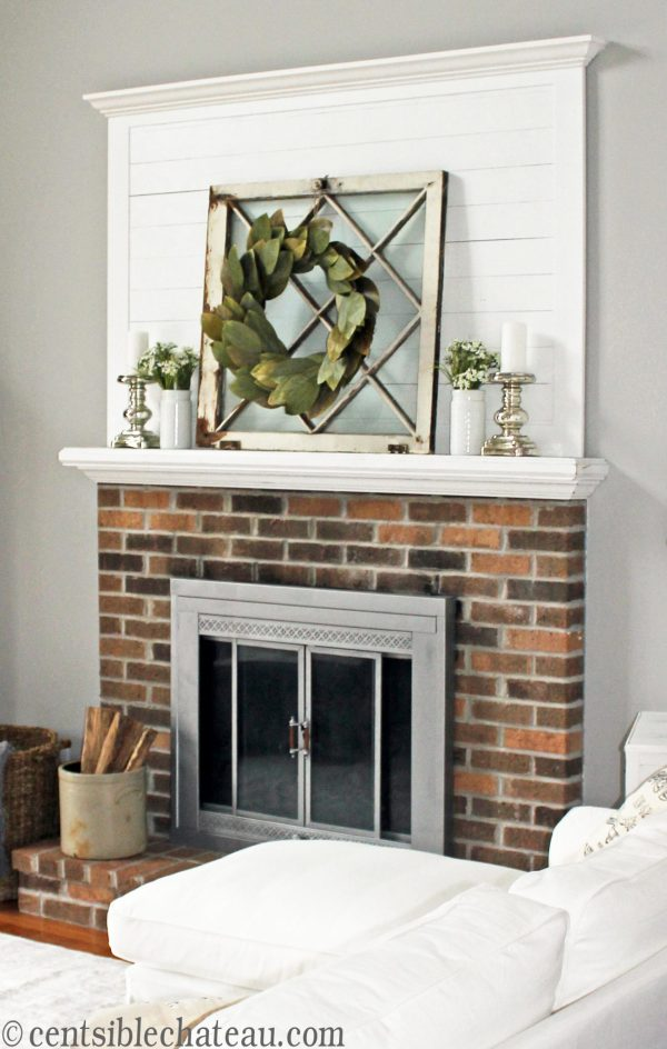 Farmhouse style fireplace, One room challenge | Centsible Chateau