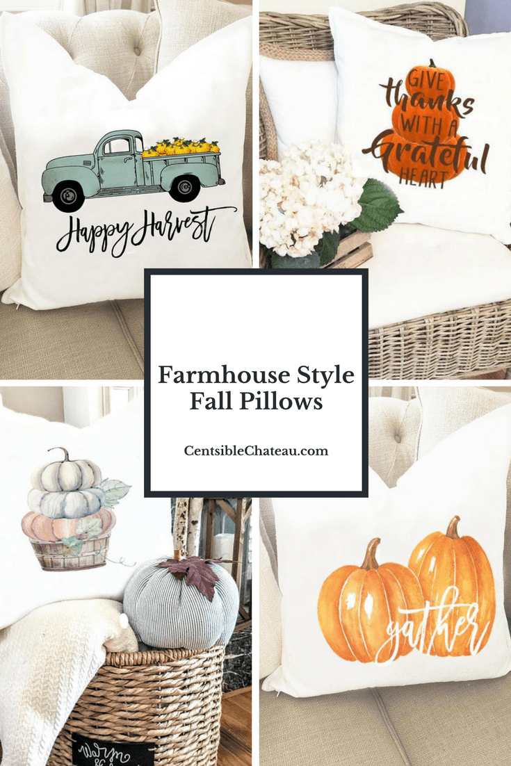 These Farmhouse Style Fall Pillows will help you create a cozy, warm home this fall. Bundle up in your favorite fall sweater, grab your pumpkin spice latte and snuggle up with a good book. It's Fall Y'All CentsibleChateau.com
