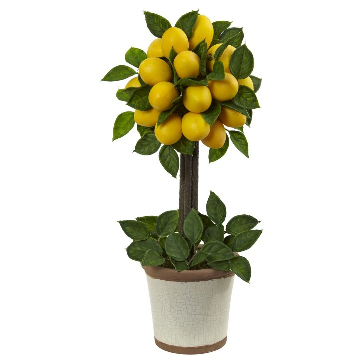 farmhouse lemon decor- lemon topiary
