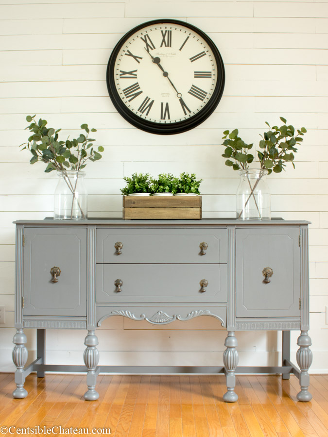 A Sweet Little Farmhouse Style Gray Buffet Makeover