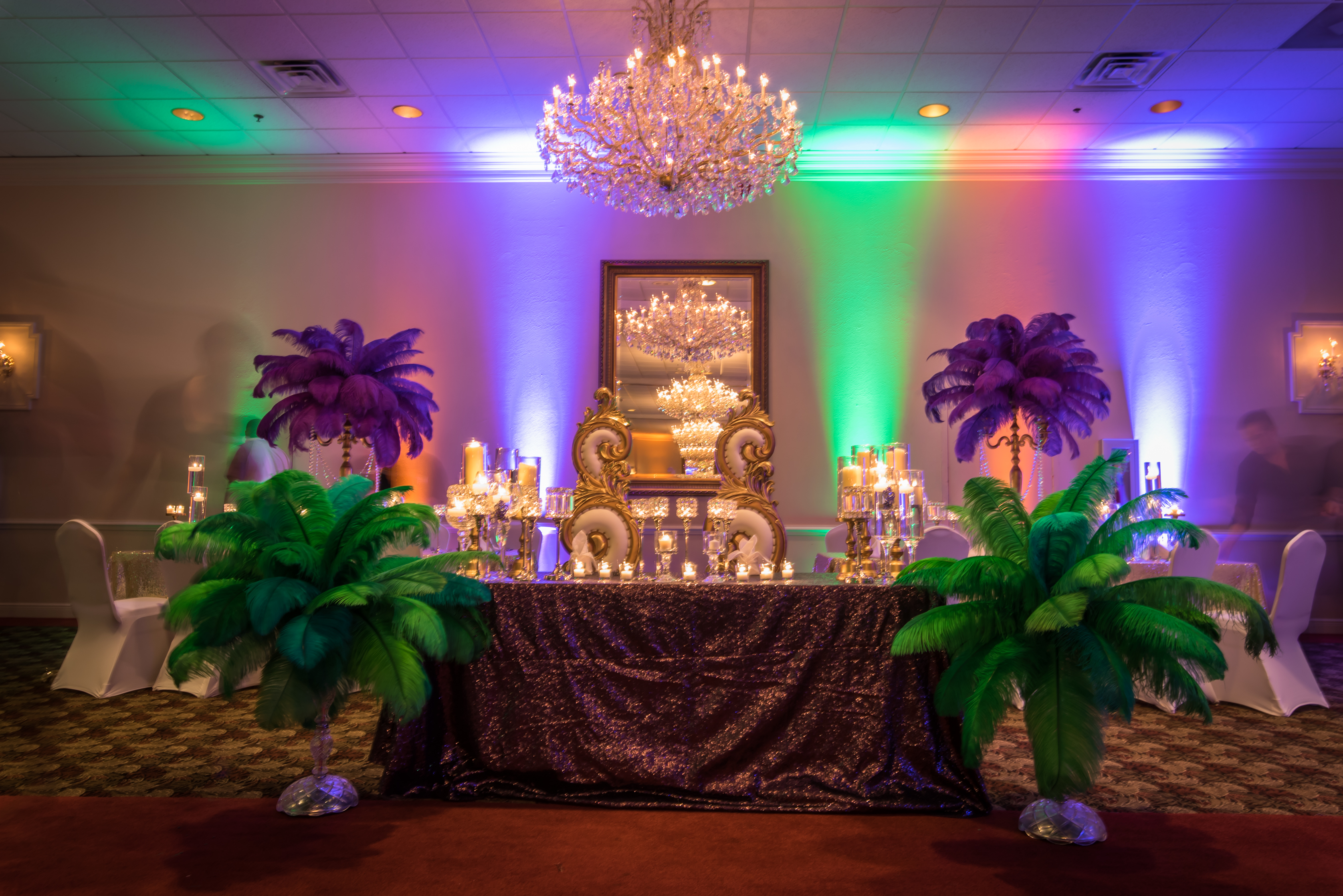 Mardi Gras Themed Wedding Decor