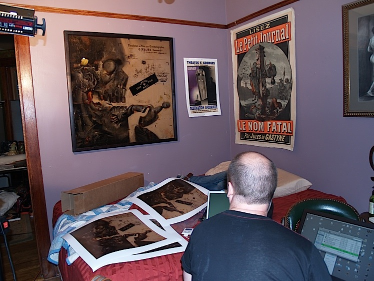 Checking the prints against the original Dave McKean painting