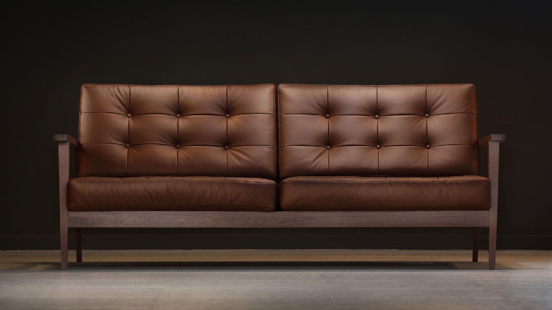 The Mid Century Show Wood Sofa Brown Leather