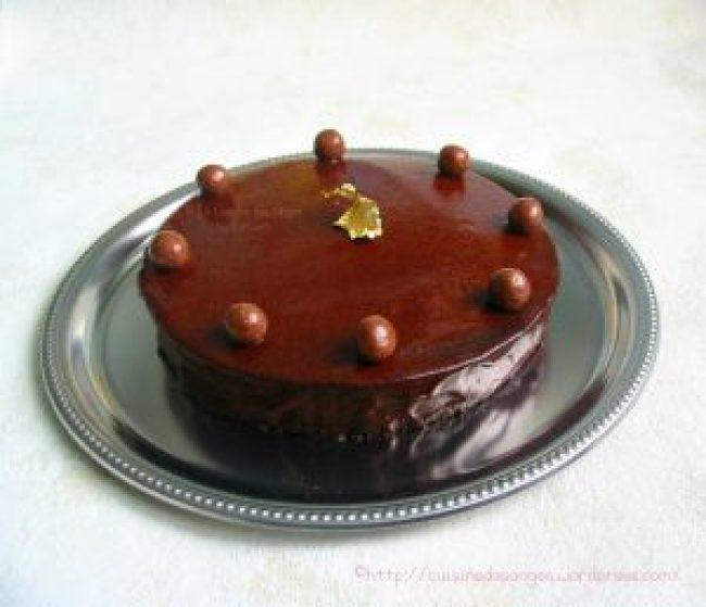 Gâteau au chocolat avec glaçage brillant au cacao