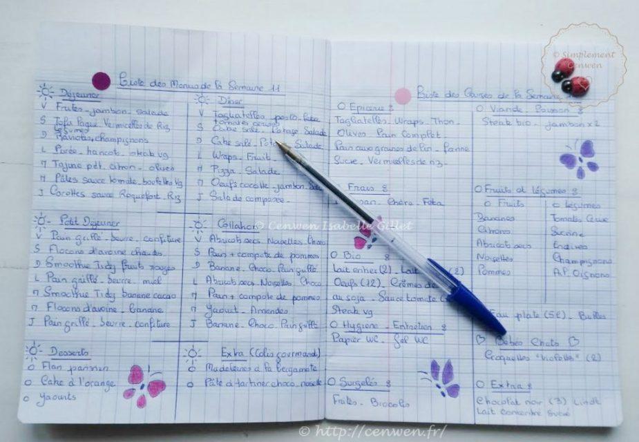 Cahier d'organisation des menus et des listes de courses pour la semaine