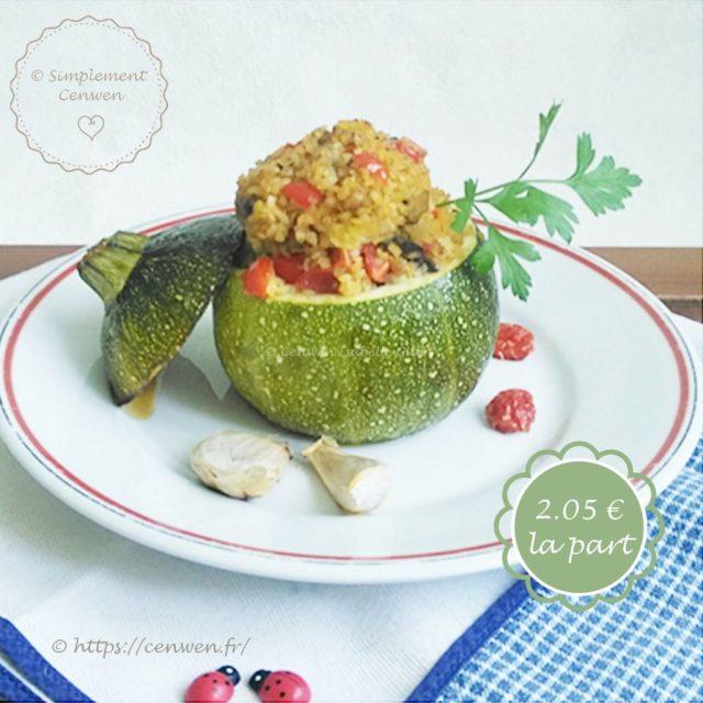Courgettes farcies végétariennes : boulgour et champignons et tomates cerise. Une recette économique, gourmande et facile. A tester et à adopter ♥