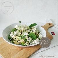 Salade composée : boulgour, petits pois, feta, menthe