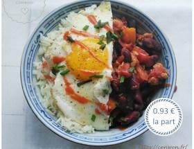Blog de recettes économiques et fins de mois difficiles : Haricots rouges épicés à la sauce tomate ~ recette fins de mois difficiles. Recette facile, rapide, économique de haricots mijotés à la sauce tomates et aux épices