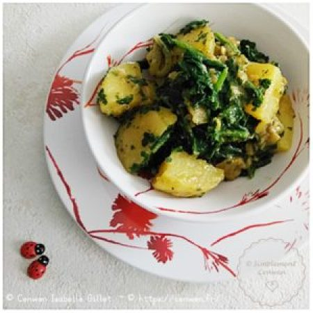 Blog de recettes économiques et fins de mois difficiles : curry de pommes de terre et épinards