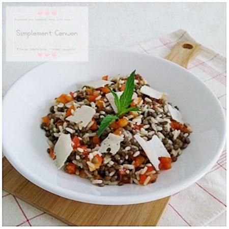 Blog de recettes petit budget et fins de mois difficiles : salade de riz aux lentilles et poivron rouge