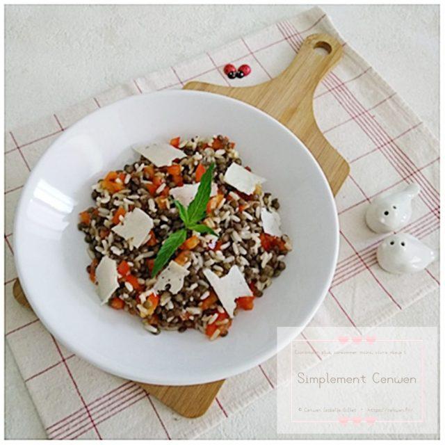 Salade composée : riz, lentilles, poivron rouge et tome de brebis ~ Recette économique pour Fins de Mois Difficiles #FDMD #Vivre Mieux ♥