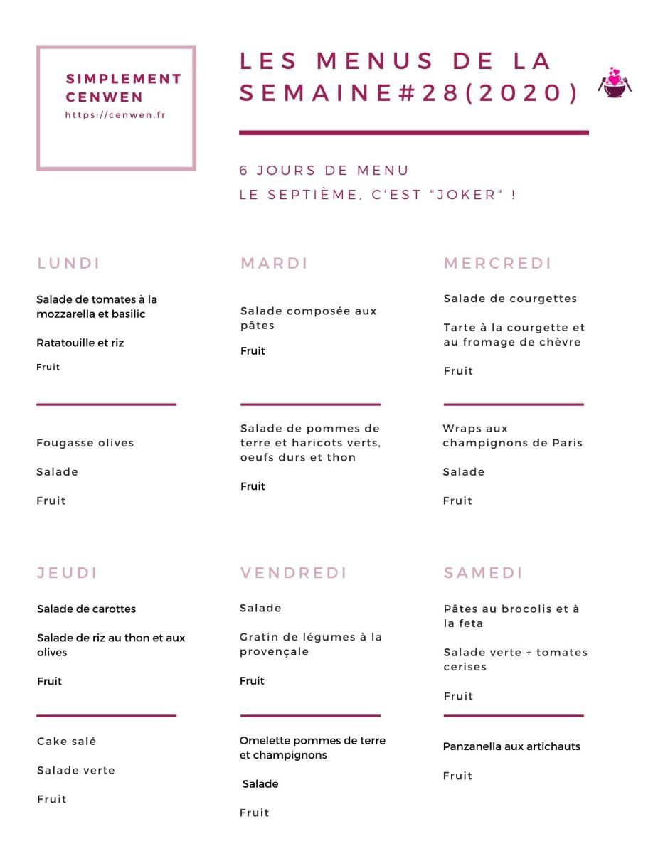 Les menus de la semaine #28
