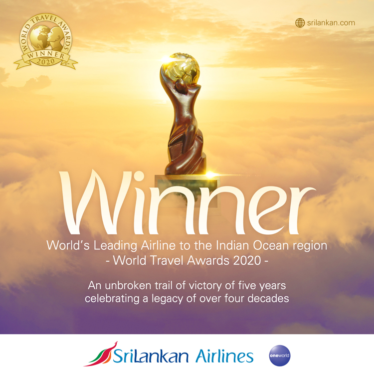 SriLankan Airlines named 'World's Leading Airline to the Indian Ocean' at WTA
